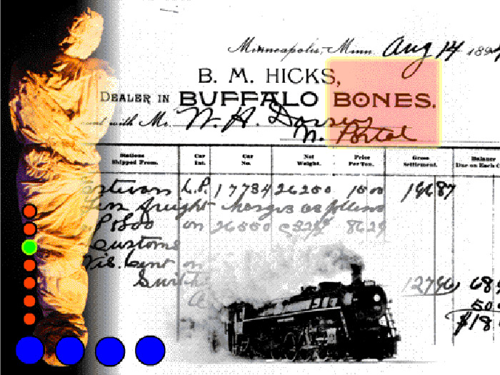 Collage of mummy figure, archival 1890s invoice for buffalo bones, steam locomotive , coloured dots superimposed