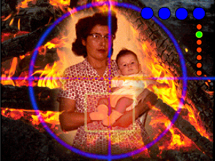 Collage of old photo of woman with baby, bonfire, and crosshairs, coloured dots superimposed
