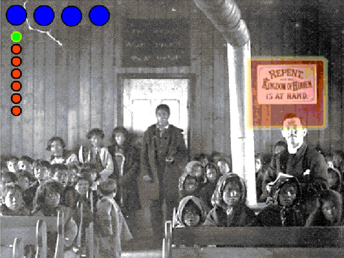 Archival photo of native children in church with preacher, coloured dots superimposed