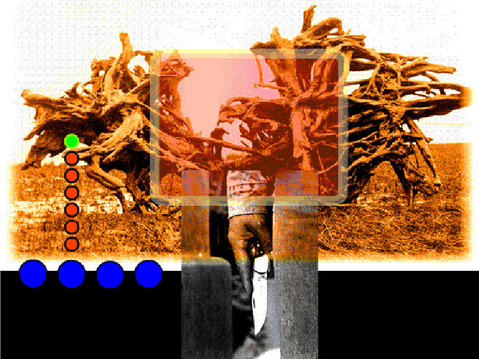 Collage of large tree root, orange translucent rectangle and man's hand holding open knife against leg, coloured dots superimposed