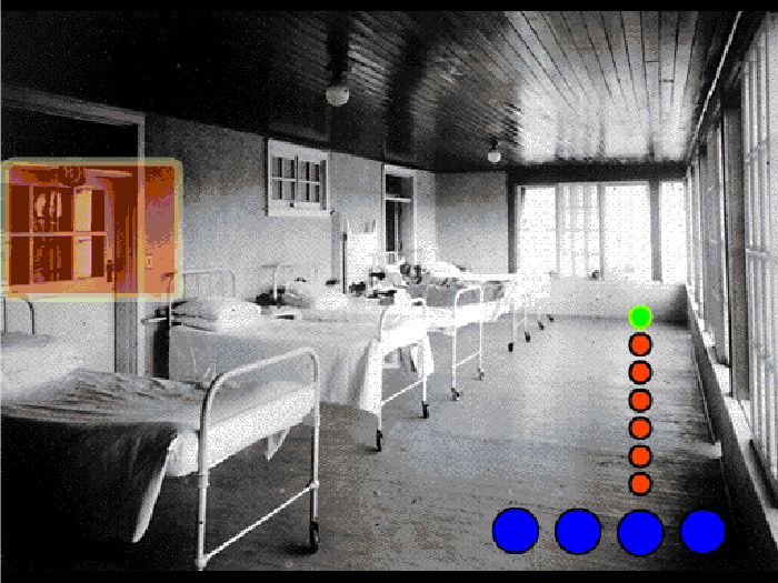Archival photo of hospital ward row of beds, coloured dots superimposed