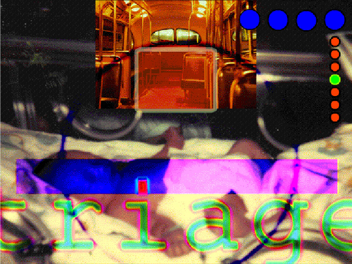 Collage of baby in bassinet, old bus interior with word 'triage' and coloured dots superimposed