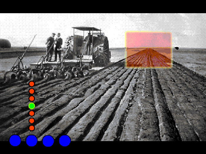 Archival image of steam-powered tractor plowing a field, superimposed coloured dots and translucent orange rectangle