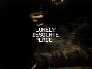 Dark image of a hand with a small chain above what looks like an animal fur with white text 'LONELY DESOLATE PLACE'